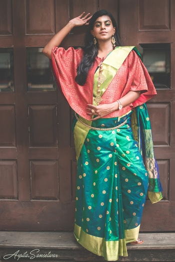 With all my gazillion visits to south India I was always mesmerised by the way they wear the #kamarpatta on a silk saree and here's me finally pulling it off!  I am wearing a Pranpur saree with gold Meenakari motifs and a brocade cropped top! . . . Comming soon on the blog!  #thenrage #thenragexsaileshsinghania #heritagehandloom #supporthandloom #Diwali2017 #HappyDiwali #saree #handloom #handloomsaree #traditionalwear #loveforsaree #indianfashionblogger #fashionblogger #bloggerlife #green #silksaree #mulberrysilk #mulberry #appieclicks #ramaniyaglitterati #roposo #soroposo #roposogal #RoposoTalentHunt #TalentHunt #Soroposogal #Fashionblogger