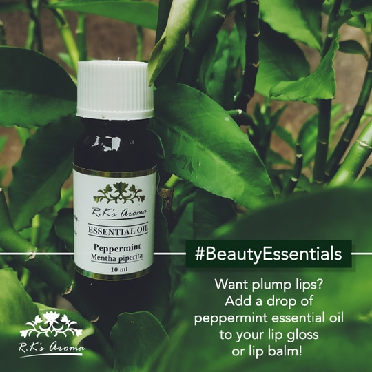Get soft plump lips that are ready for a perfect pout with this quick R.K's Aroma essential oil hack! #BeautyEssentials