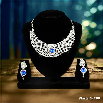 Blue Stone Alloy Necklace Set. Shop Here- http://bit.ly/2h7mq1b #Contemporarylook #trendydesign #Fashionista #Jewelry #jewelmaze