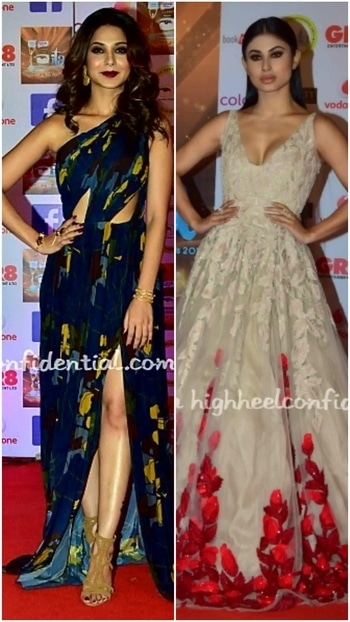 💜STYLE ON MY MIND 💜 Doing seduction with grace #jenniferwinget #mouniroy in ultra  chic ,feminine gowns.Jennifer topping ,with her well cordinated beauty look and accessories. 😍😍😍 #indiantelevisionawards#designergowns#formalwear##fashion2017 #westernwear#glamourand style2017#fashiondivas#fashionstatement #roposofashion #roposofashionbloggernetwork#roposo-makeupandfashiondiaries #roposostylefiles delhifashionbloggernetwork