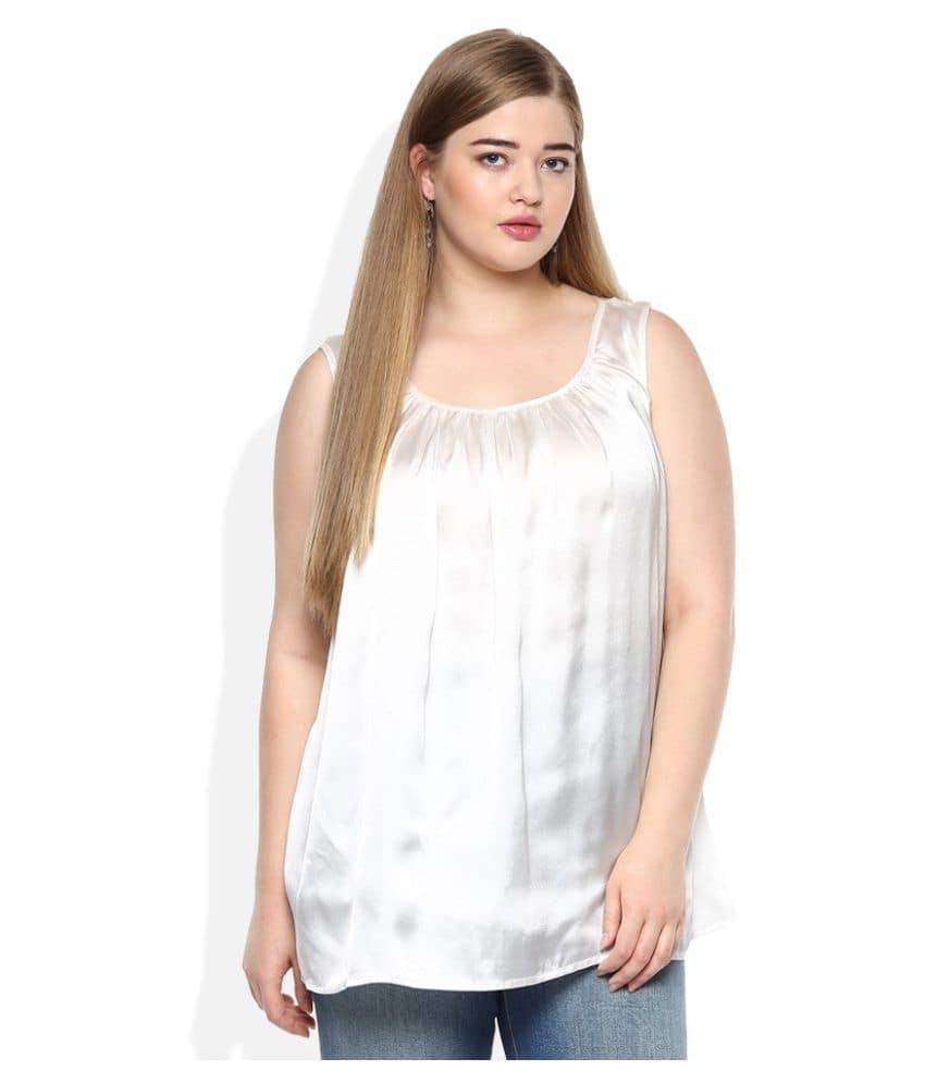 Qurvii Crepe Regular Tops  *Sleeves Length: Sleeveless *Sleeveless White top with gathers at neck line  Link- http://bit.ly/2zvUcb0  #top #topforgirl #girlstop #womentop #qurvii