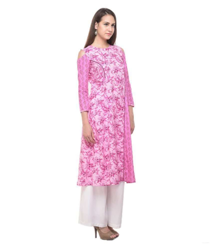 Wings Pink Cotton Straight Kurti  *Style:Straight *Neck:Round Neck *Fabric:Cotton *Work:Printed *Back Style:Round Shape Back  Buy Link- http://bit.ly/2zzApaA  #kurti #womenkurtis #kurtisforwomen #womenwear #designer #wings