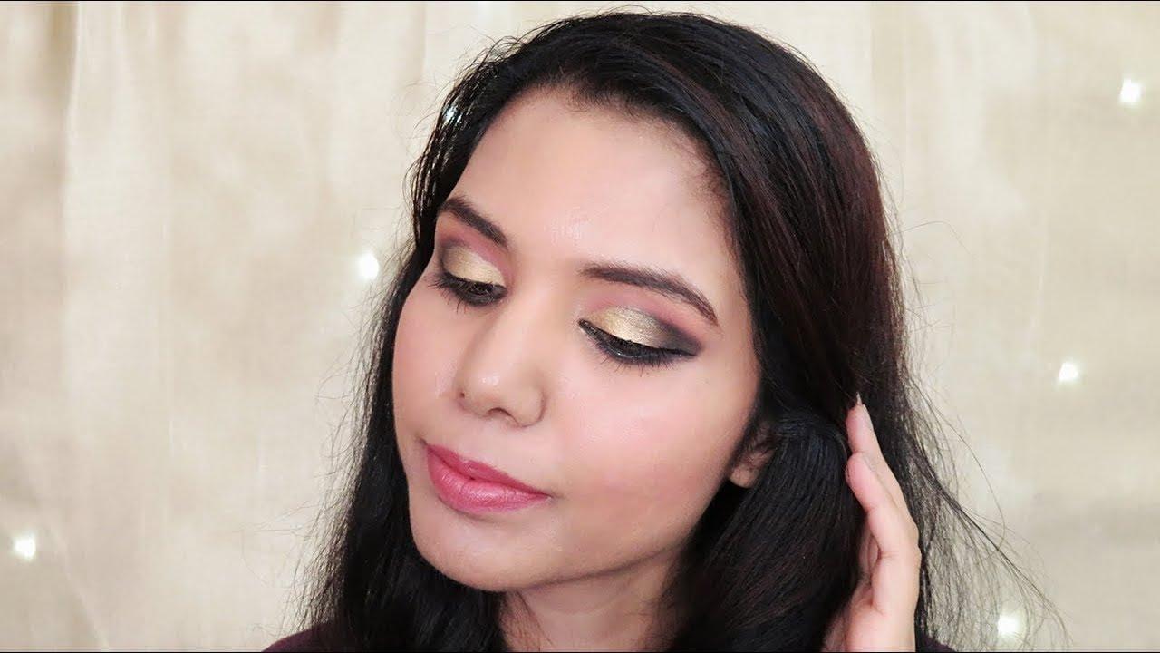 Gold Smokey Eye Makeup Tutorial For Beginners | #SmokeyEyeSeries | omnistyles