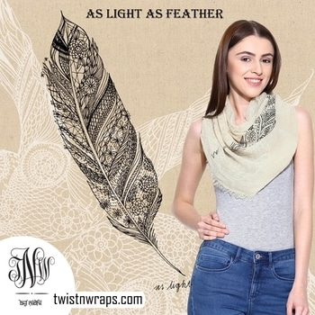 As Light As Feather   Straight out of the canvas this artistic impression printed scarf is specially designed & loved by our client who love the artistic touch in their styling. Grab this 100% pure linen scarf originbal prices at INR2500/- FOR ONLY INR500/-( OFFER VALID FOR A LIMITED TIME )  https://www.twistnwraps.com/product/light-feather-scarf  #SCARF #SCARFSHOP #scarfstyle  #linenscarf #offer #winteriscoming #november #fashiononline #accessories #scarfmakesthedifference #stoles & scarves #linenscarf #artitisticimpression #fashionsta #fashiongram #styleblogger