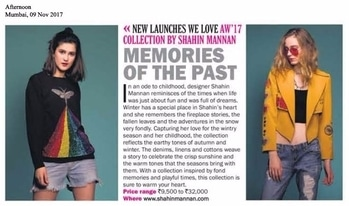 #shahinmannan Memories of the Past collection featured in ADC newspaper . . . #dipublicrelations #webuildyourstory #diprloves