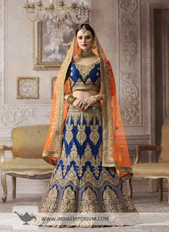 Check out our Trends for this season filled zari embroidery, go for satin lehengas this wedding season & shine bright.!! To order or enquire, visit Indiaemporium.com