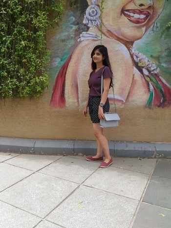 When the background is so cool, and colourful.. #pretty girls dayout #monikasingh #fashionbloggerindia #youtuber
