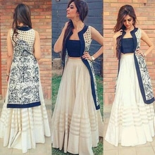 Designer Kurtie Lehenga-off white lehenga with fabric border and with blue sartton sleevel ess blouse and printed jecket-IF ANY OTHER QUERIES PLEASE CONTACT ON THIS NUMBER OR WHATS APP-9716617285