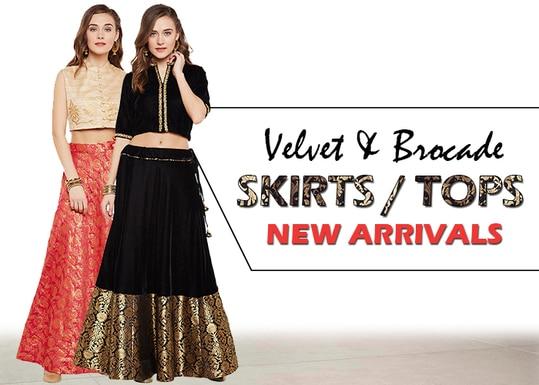 Skirts & Tops - New arrivals!  http://bit.ly/2ullAWr  #9rasa #studiorasa #ethnicwear #ethniclook #fusionfashion #online #fashion #velvet #trendy #styles #velvet #brocade #skirt #top #lehenga