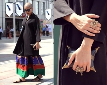 Try this experimental look for the coming winter season and stand out in the crowd. Pair your ethnic skirt with winter coat or blazer and add statement jewellery or accessory to complete this look. #contemporarystyling #experimentalfashion  #indowestern #stylingtips #winterstyling #boldlook #fashionstyling #boldpersonality #skirt #ethnicskirt #statementjewellery #antiquejewellery #winterfashion #cntemporaryfashion #streetfashion #streetstylefashion