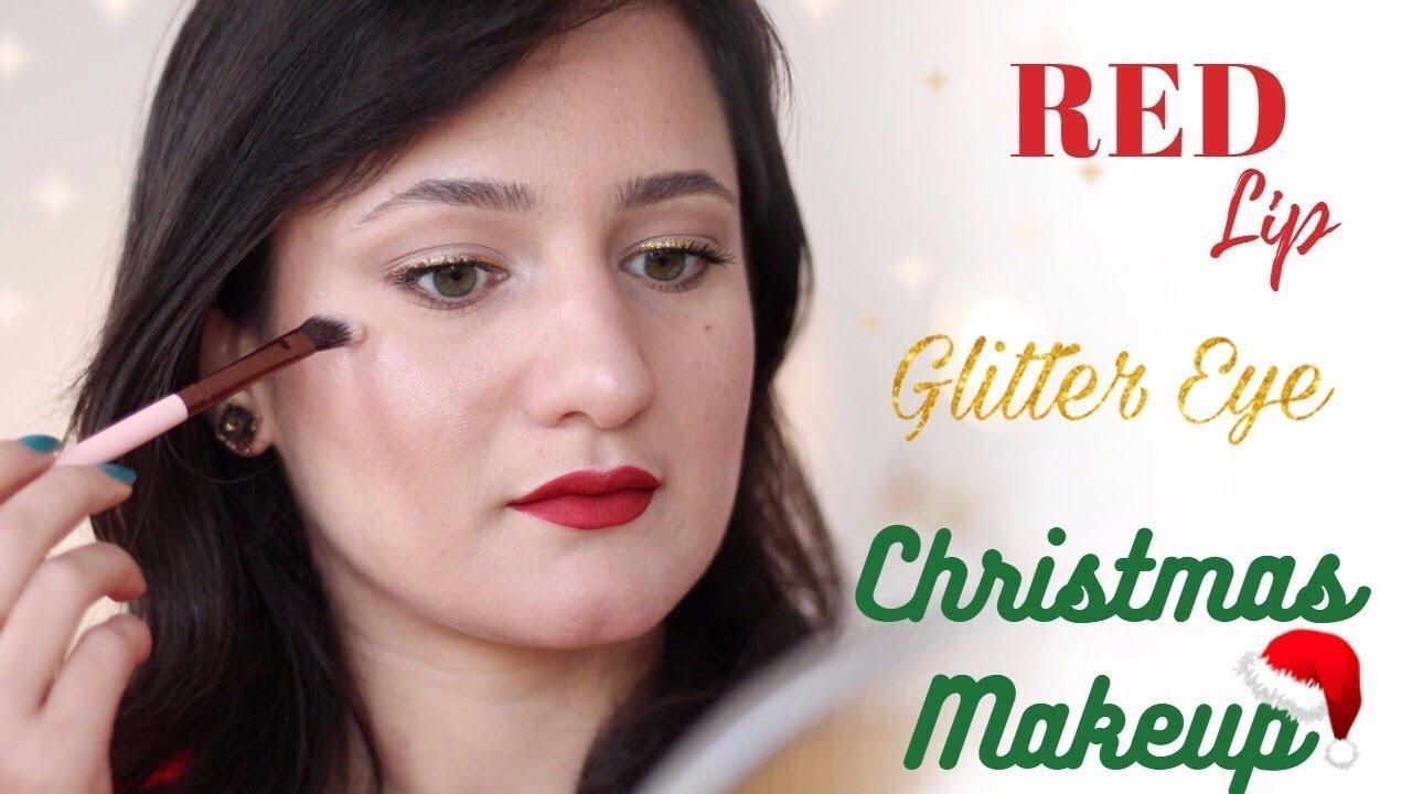 Classic Red Lip Glitter Eye Christmas Makeup Tutorial   Makeupmagique 2017