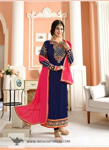 Sizzling Navy Blue & #Magenta #Georgette Long #Straight #Suit @@@ https://goo.gl/7Pa2GQ #be-fashionable #bollywood  #model  #followme #onlineshopping #onlineshoppingstores