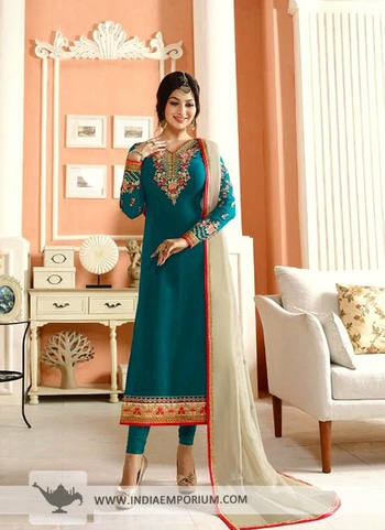 Dreamy Rama Blue #georgette #embroidered Long #straight #suit  @@@ https://goo.gl/t3BJBd #ropo-good #onlineshopping  #blogger #onlineshoppingstores