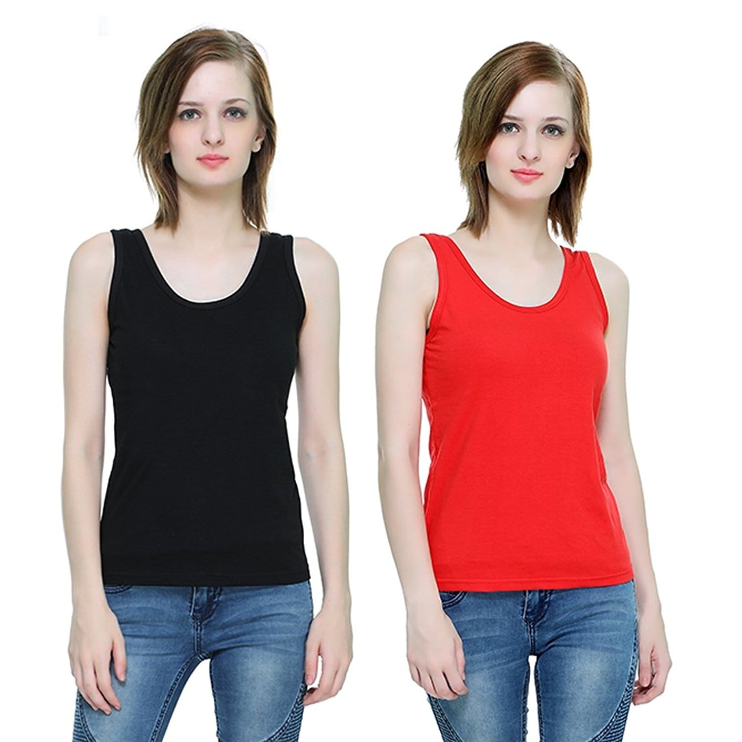 The Hex Cotton Round Neck Tank Top For Women's (Black,Red) Pack OF 2  #tops #tanktops #womenwear #summerwear #tees  #fashion #womenshirts #clothes  *Price Rs. 899 *Link https://www.amazon.in/dp/B076BPRYN2
