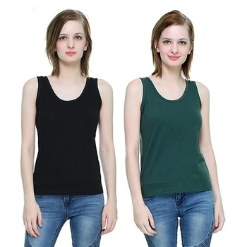 The Hex Cotton Round Neck Tank Top For Women's (Black,Green) Pack OF 2  #tops #tanktops #womenwear #summerwear #tees  #fashion #womenshirts #clothes  *Price Rs. 899 *Link https://www.amazon.in/dp/B076BF3X2R