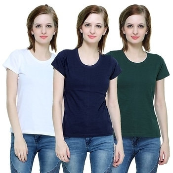 The Hex Cotton Round Neck T-Shirt For Women's (White,Navy Blue,Green) Pack OF 3  #tops #tanktops #womenwear #summerwear #tees  #fashion #womenshirts #clothes  *Price Rs. 899 *Link https://www.amazon.in/dp/B076BKB2ML