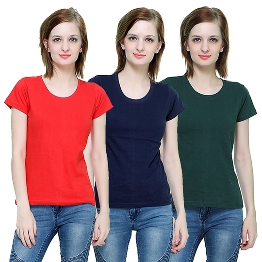 The Hex Cotton Round Neck T-Shirt For Women's (Red,Navy Blue,Green) Pack OF 3  #tops #tanktops #womenwear #summerwear #tees  #fashion #womenshirts #clothes  *Price Rs. 899 *Link https://www.amazon.in/dp/B076BFVMKX