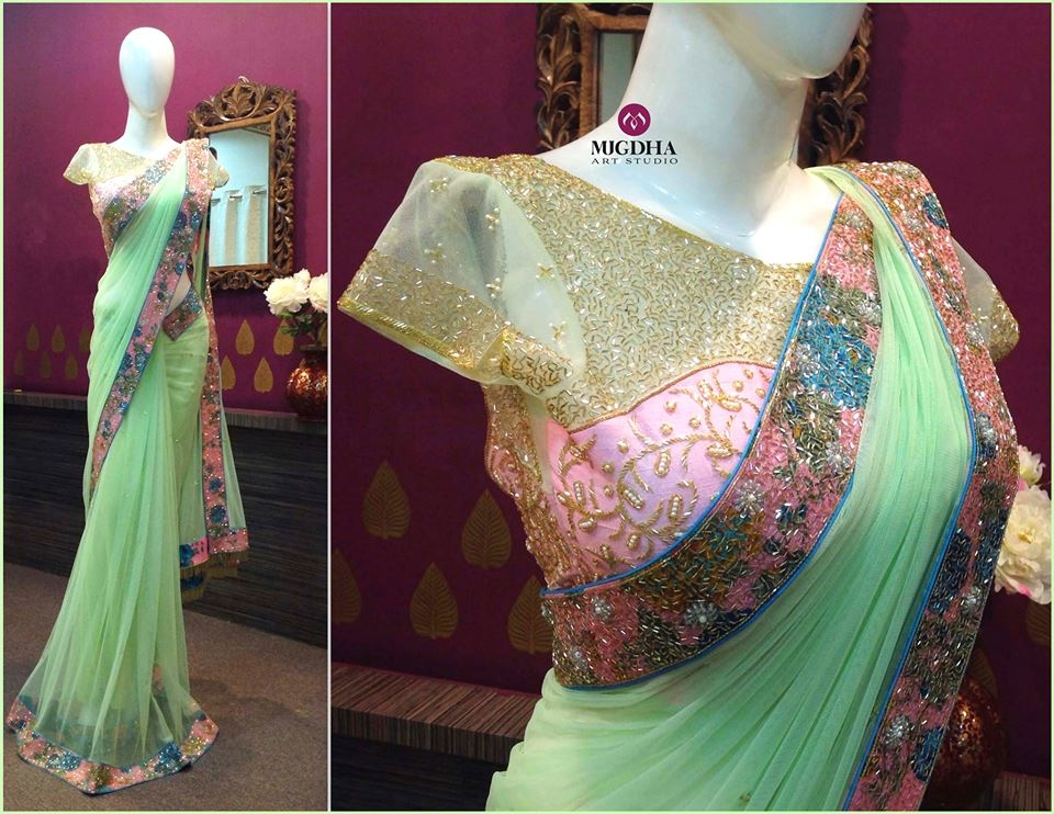 #gorgeous #saree with beautiful design and #embroidery from the house of Mugdha Art Studio. For orders whatsapp us on  +91 8142029190/ 9010906544