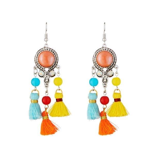 !!!! Rainbow Rain Tassel !!!! Get Here- https://goo.gl/YafHT3 #Shop #Thread #Multicolor #RhodiumPlated #Earring #Jewelry #jewelmaze