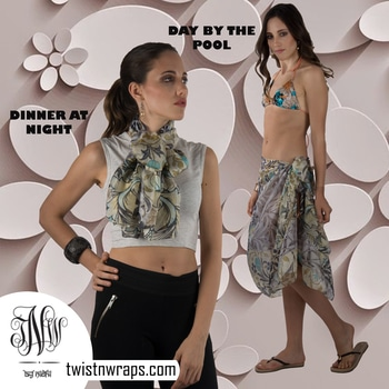 """Laurier rose -olive & purple   Shop our scarf which u can use for both day or night styling . Check the lookbook where our team use the """" Laurier silk scarf"""" for the pool side sarong drape & the same scarf is styled for dinner date   #followusformore #twistnwraps on #instagram #facebook #twitter #pinterest for more #stylingtips .#shopnow #scarf #scarves #tnwscarves from our #vintagecollection or #warmweather #fashionlook #fashiontips #fashiongram #fashionshop #accessories #fashionaccesories #styleblogger #stylist #worldfashionbloggers #womenfashion #womenfashionguide"""