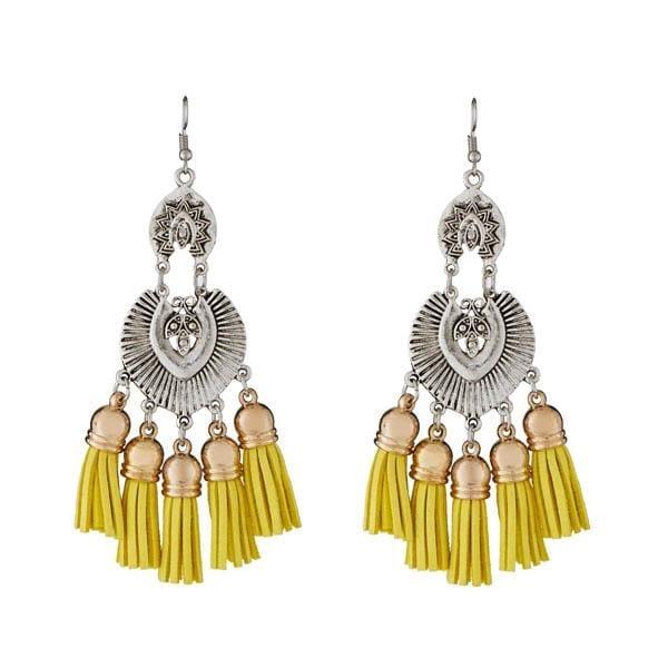 !!!! Shinning Yellow Tassel !!!! Get Here- https://goo.gl/SpQ9P5 #Shop #Threaddesign #RodiumPlated #Jewelry #jewelmaze