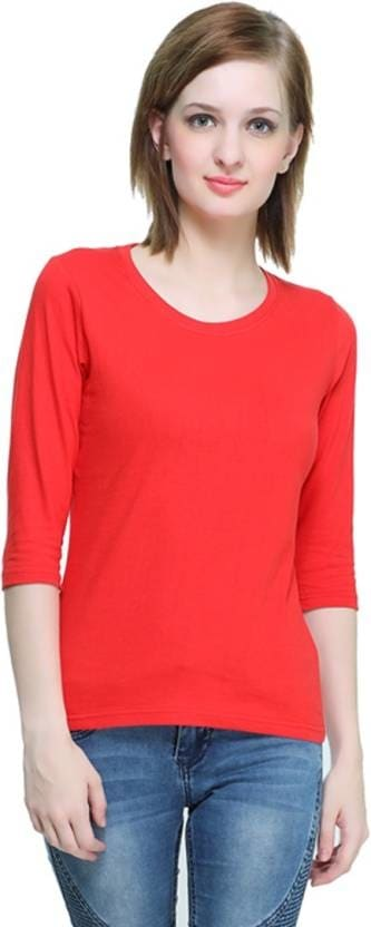 THEHEX Casual 3/4th Sleeve Solid Women Red Top  #tops #tanktops #womenwear #summerwear #tees  #fashion #womenshirts #clothes #roposo-styles #winterwear #be-fasionable #womenshirt #ladieswear #styles #bindass #roposolove #cool #beauty  *Price Rs. 349 *Link http://bit.ly/2BrCjrs