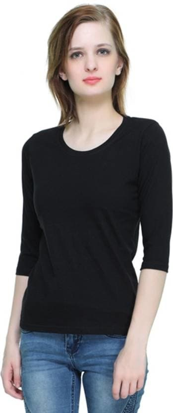 THEHEX Casual 3/4th Sleeve Solid Women Black Top  #tops #tanktops #womenwear #summerwear #tees  #fashion #womenshirts #clothes #roposo-styles #winterwear #be-fasionable #womenshirt #ladieswear #styles #bindass #roposolove #cool #beauty  *Price Rs. 349 *Link http://bit.ly/2nku1zz