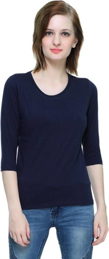 THEHEX Casual 3/4th Sleeve Solid Women Dark Blue Top  #tops #tanktops #womenwear #summerwear #tees  #fashion #womenshirts #clothes #roposo-styles #winterwear #be-fasionable #womenshirt #ladieswear #styles #bindass #roposolove #cool #beauty  *Price Rs. 349 *Link http://bit.ly/2jaTdEi
