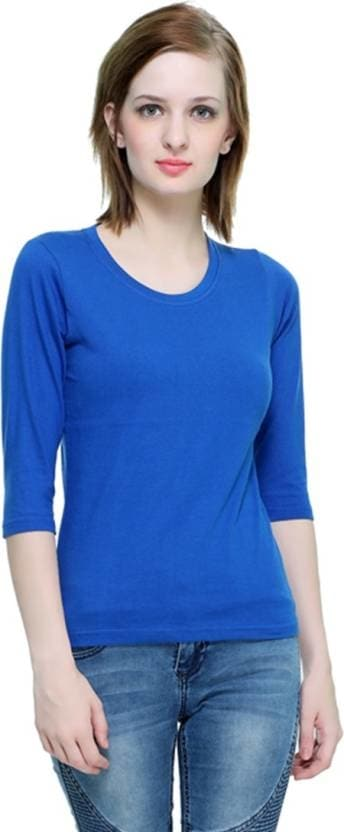 THEHEX Casual 3/4th Sleeve Solid Women Blue Top  #tops #tanktops #womenwear #summerwear #tees  #fashion #womenshirts #clothes #roposo-styles #winterwear #be-fasionable #womenshirt #ladieswear #styles #bindass #roposolove #cool #beauty  *Price Rs. 349 *Link http://bit.ly/2j7vjcL