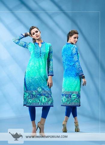 Smashing Turquoise & Blue French Crepe Printed Kurti @@@ http://bit.ly/2Aw5muO  #kurtisdesign #kurtissales #kurtispakistanidesigners #designerkurtisforwedding #buykurtisonlineforcheap
