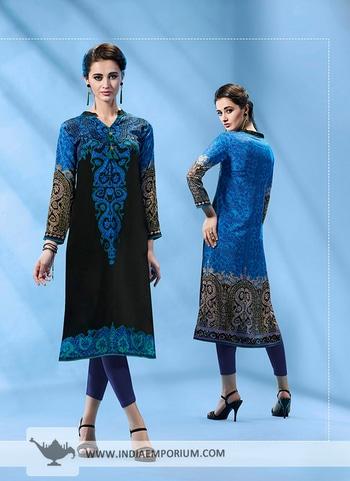 Lavish Blue & Black French Crepe Printed Kurti @@@ http://bit.ly/2imgodT #kurtisdesign #kurtissales #kurtispakistanidesigners #designerkurtisforwedding #buykurtisonlineforcheap