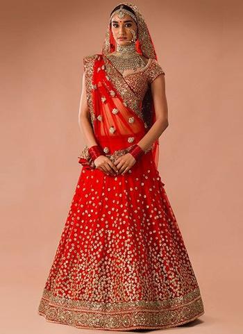 Red heavy bridal lehenga @@@ http://bit.ly/2zToNg7 #Redheavy #bridallehenga
