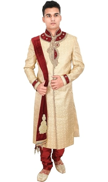 La Rainbow Mens Embroidered Wedding Banarasi Jacquard Sherwani (Beige and Maroon)  Ethnicwear Full Sleeves Sherwani with Nehru Collar  Packing: One Sherwani with Churidar pajami and Stole :: Size: if you wear S size shirt choose S sherwani,S=36  Wash Care Instructions: Dry clean recommended  Buy Link- https://www.amazon.in/dp/B077BRDDKK  #sherwani #nehrucollar #fashion