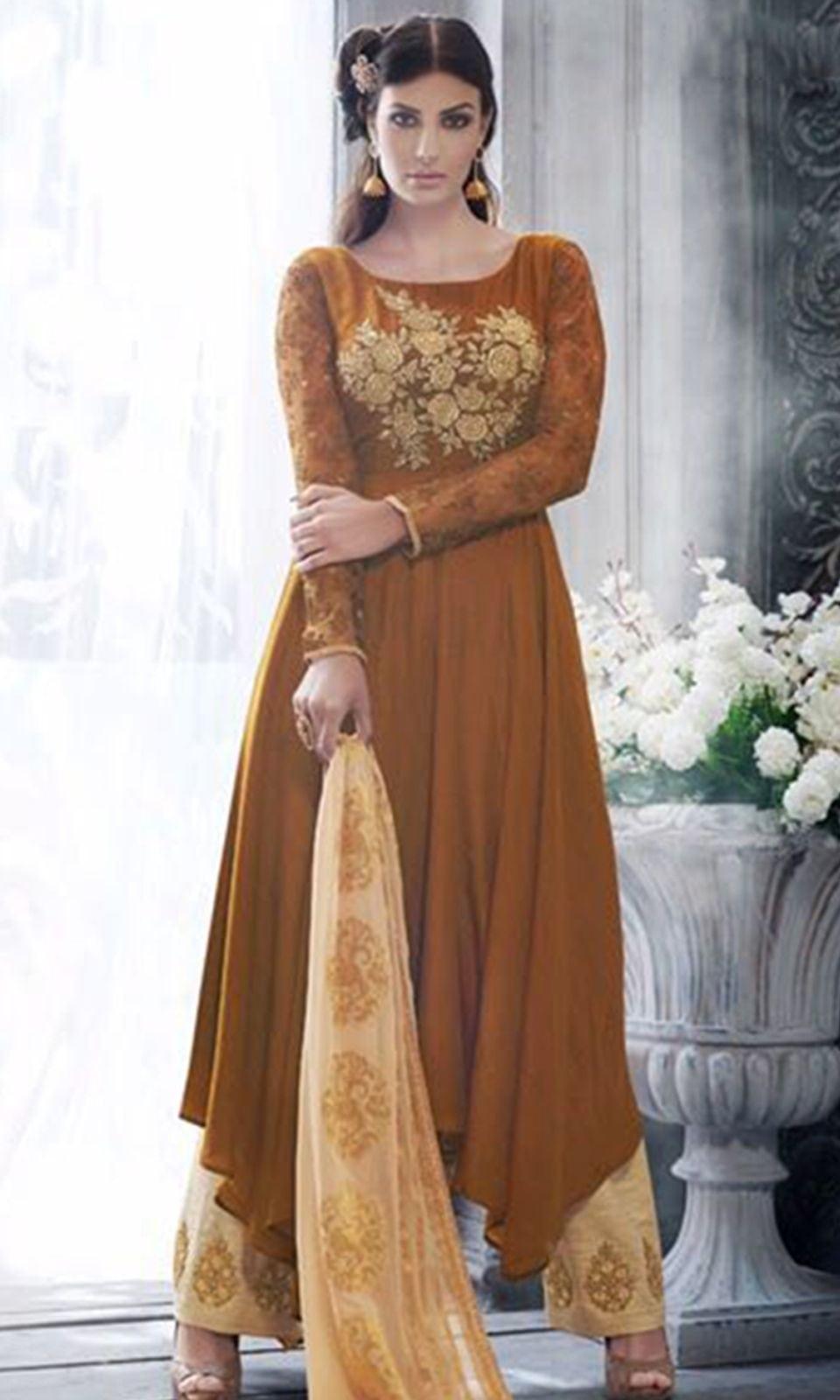 Brown Heavy Embroidered Salwar Suit  • Heavy Embroidered Salwar Suit • Fabric : Georgette • Salwar Fabric : Khadi Silk • Dupatta Fabric : Chiffon • Size : Semi-Stitched (customizable Upto size-44)  SKU: SUEBRNK3061 Rs. 5,299.00  at Best Price online at #IshiMaya #weddingday #weddingdress #weddings #happynewyears #happynewyear2018 #christmasparty #x-mas