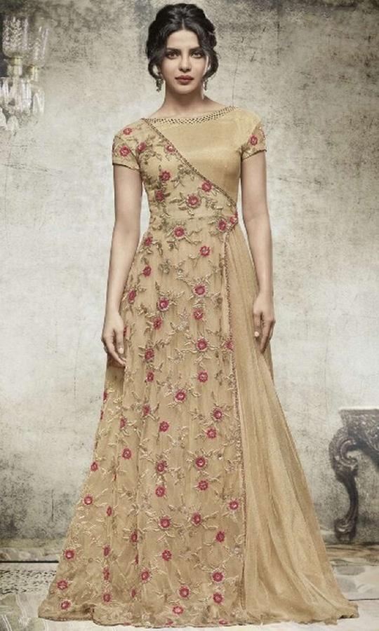Beige Gown Style Salwar Kameez  • Party wear Gown Style Suit • Fabric : Georgette • Salwar Fabric : N/A • Dupatta Fabric : Chiffon • Size : Semi-Stitched (customizable Upto size-44)  SKU: SUEJDSHR5152 Rs. 3,599.00  at Best Price online at #IshiMaya #weddingday #weddingdress #weddings #happynewyears #happynewyear2018 #christmasparty #x-mas