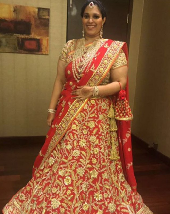 The Romance of Red & Gold! Sai Priya Danam wears a Red gota and bead work ghagra by Abu Jani Sandeep Khosla Couture.