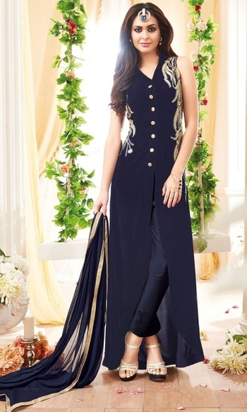 Blue Front Slit Salwar Kameez Suit  • Party wear Front Slit Skirt Suit • Fabric : Georgette • Salwar Fabric : Shantoon • Inner Fabric : Shantoon • Dupatta Fabric : Chiffon • Size : Semi-Stitched (customizable Upto size-44)  SKU: SUEBRMS3907 Rs. 3,099  #partywear #suit    #wedding-suits-designer #wedding #wedding-outfits#lehenga-for-#wedding #weddinglook#weddinglook #weddinglehngas #wedding-lehnga #wedding #wedding-bride #wedding-dress #weddingday#weddinggoals#weddingideas#weddingthings #happynewyears #happynewyear2018 #christmasparty #x-mas  http://www.ishimaya.com/salwar-kameez/all-collections/designer-front-slit-anarkali-suits.html