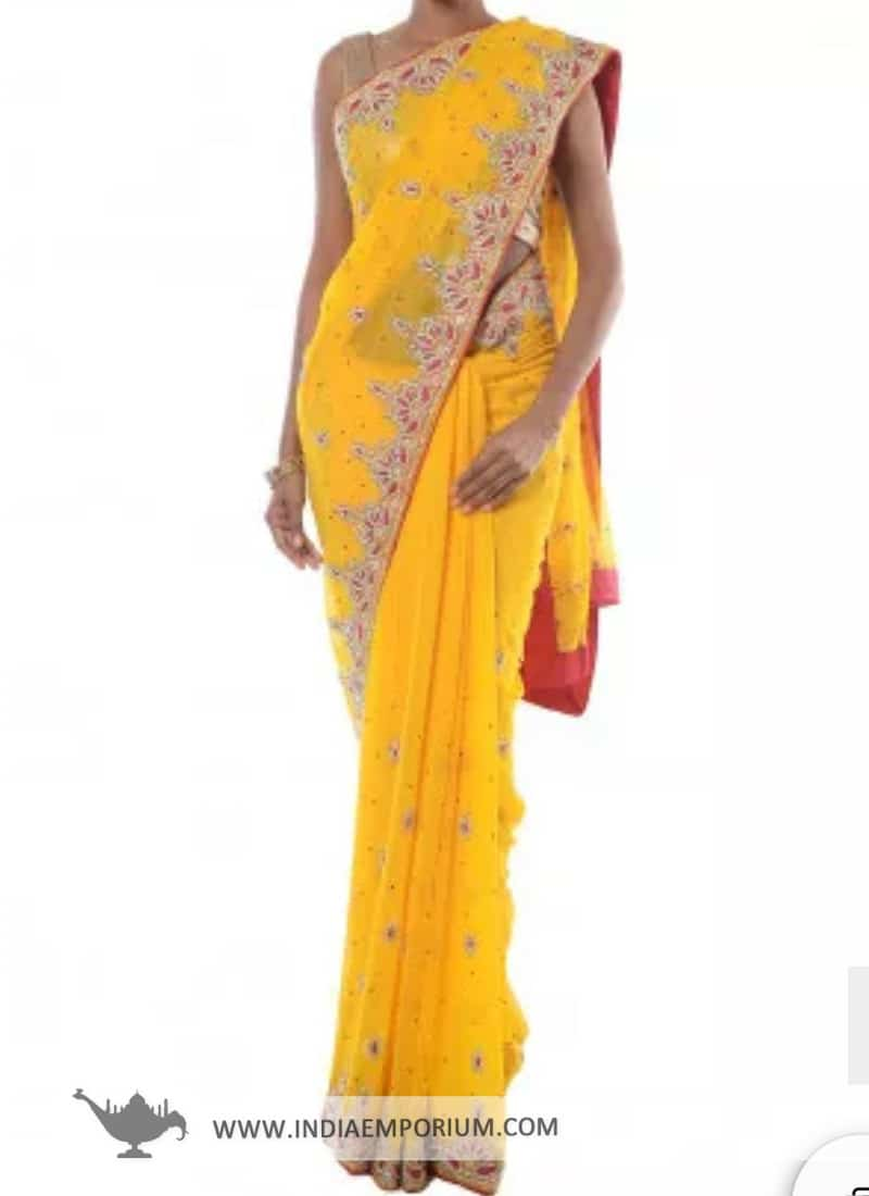 Bedazzling Yellow Zari Embroidered Georgette Saree  @@@ http://bit.ly/2CfXQ7D