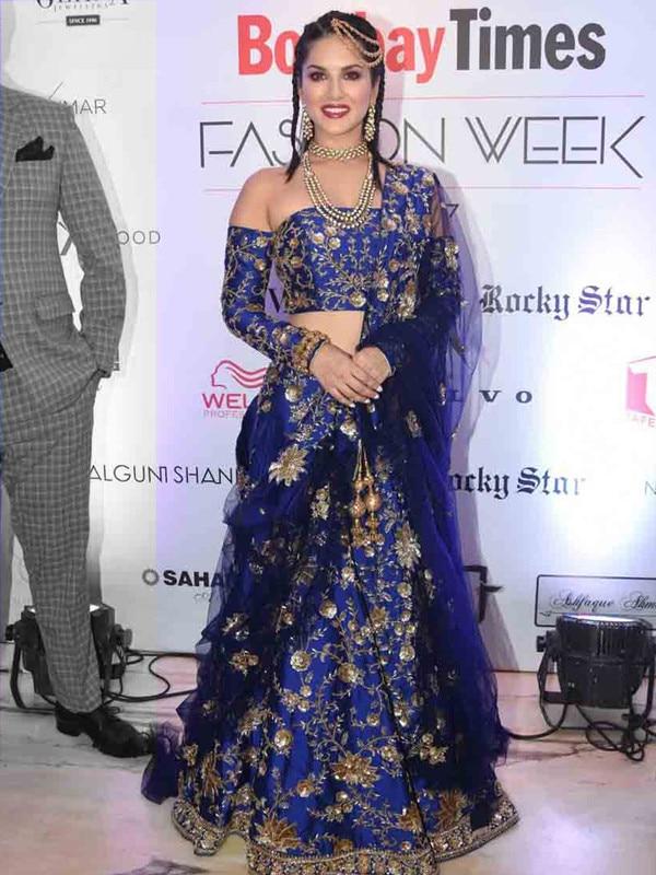 Appealing Navy Blue One Shoulder Silk & Net Cutdana Work Heavy Bridal Lehenga Choli  @@@ http://bit.ly/2zbC2dW