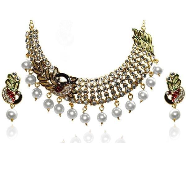 !!!! Statement Necklace !!!! Get Here - https://goo.gl/TfPk6H #Shop #Trendy #PeacockDesign #Kundan #Multicolo #Jewelry #jewelmaze