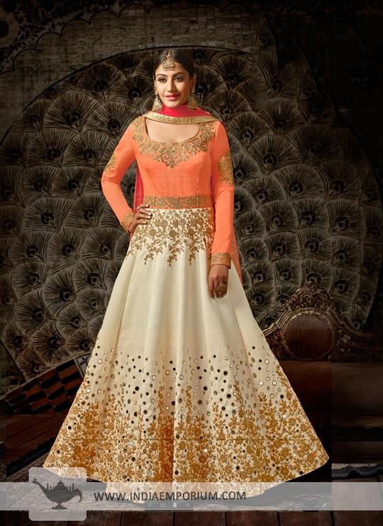 Intricate Orange & Cream Zari Embroidered & Mirror Work Anarkali Suit @@@ http://bit.ly/2ClkGtO