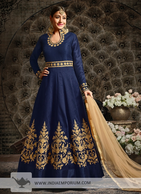Lovely Navy Blue Zari Embroidered & Stone Work Anarkali Suit @@@ http://bit.ly/2Bj1bTC