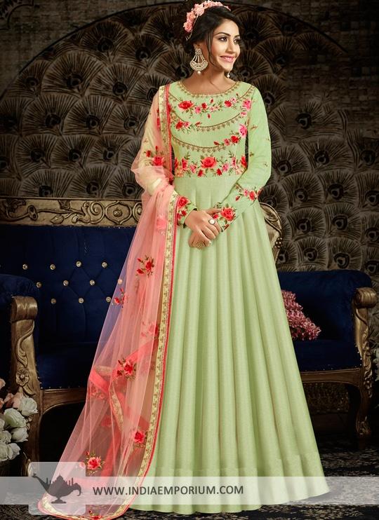 Beautiful Pista Green Thread & Zari Embroidered Long Anarkali Suit @@@ http://bit.ly/2ClsX17