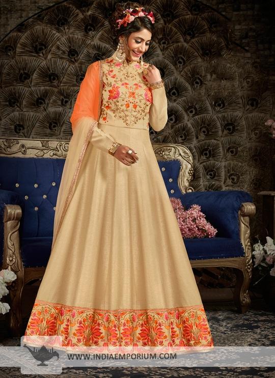 Angelic Beige & Orange Thread & Zari Embroidered Long Anarkali Suit @@@ http://bit.ly/2Bg1KgJ