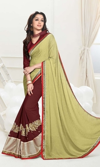 Brown and Green Heavy Border Saree  • Heavy Border Party Wear Saree • Saree Fabric : Georgette • Blouse Fabric : Georgette • Specification: Saree length is 5.5 meters; Saree width is 110 cm; Blouse fabric length is 80 cm. • Blouse is as shown in the picture. In-skirt fabric is not included. • Stitching: Unstitched blouse. Blouse can be stitched upto Size 44.  SKU: SAEVCHT6078 Rs. 1,999  #partywear #saree   #wedding-suits-designer #wedding #wedding-outfits#lehenga-for-#wedding #weddinglook#weddinglook #weddinglehngas #wedding-lehnga #wedding #wedding-bride #wedding-dress #weddingday#weddinggoals#weddingideas#weddingthings #happynewyears #happynewyear2018 #christmasparty #x-mas  http://www.ishimaya.com/sarees/all-collections/heavy-border-party-wear-georgette-sarees/brown-and-green-heavy-border-saree.html