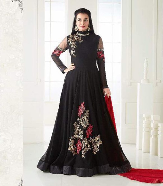 Product price :- 1599 https://www.zeelshops.com/shop.php?pid=627&pname=Black-Color-Georgette-Embroidery-Semi-Stitched-Salwar-Suits contact as for more details or whatsapp 9924430008