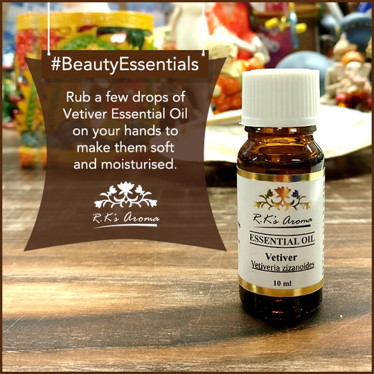 This winter, kiss goodbye to dry hands! Mix 1-2 drops of R.K's Aroma Vetiver Essential Oil with a carrier oil and massage thoroughly on your palms and the dry areas of your hands. #BeautyEssentials