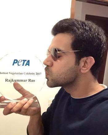 Rajkumar Rao is the #HottestVegetarian celebrity of 2017! Whoa! @officialpeta #PETA