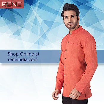 For a comfortable and smart look, go for something like this orange teaming up with a black trouser!  Get this Rene Khadi Cotton Kurta here: https://buff.ly/2lkx9XW  #Khadi #Cotton #Rene #Reneindia