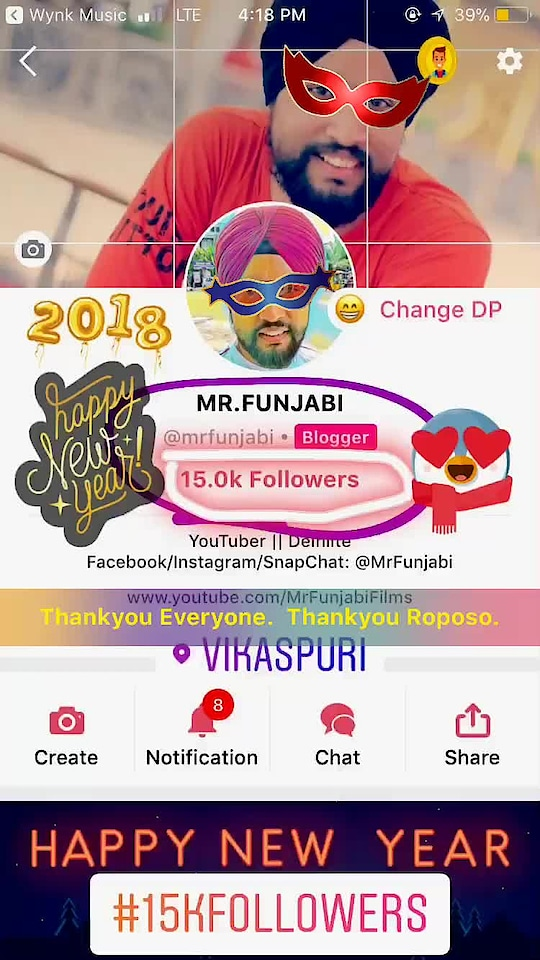 Hello My Dear Roposo Family Members. We've successfully completed 15K Followers on #Roposo  #trendingonroposo #soroposo #men #beard #sikh #punjabi #roposo-style #roposolove #roposoblogger #newyear2018  #happynewyear #newyeargift #weekend #celebration #happy #followmeonroposo #nofilter #newdp #sunglasses #15kfollowers #youtuber #viner #mrfunjabi #happynewyear #hppynewyear